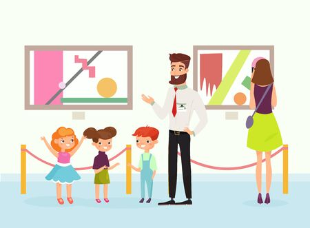 Vector illustration of cute cartoon kids in art gallery, looking on the pictures, listening guide in art museum. People admire paintings gallery. Flat style. Standard-Bild - 130861298