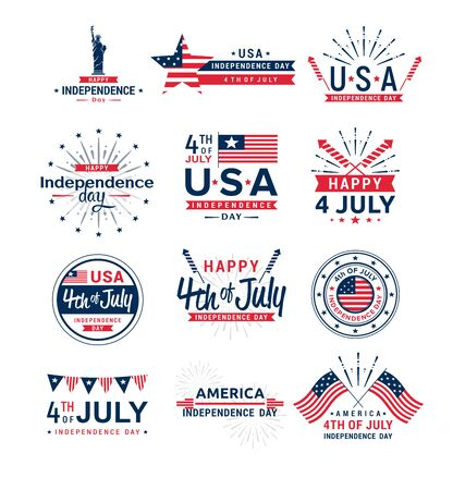 Vector illustration set of 4th of July greeting logos, United Stated independence day greeting. Fourth of July typographic elements collection for design, greeting card, banner, isolated on white background. Standard-Bild - 130861299