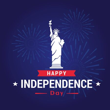 Vector illustration of Independence Day of USA. 4th of july independence day, greeting card in flat style. Standard-Bild - 130861300