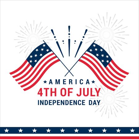 Vector illustration of greeting Fourth of July Independence Day.Happy Independence Day Banner , background with flags and salute. Standard-Bild - 130861301