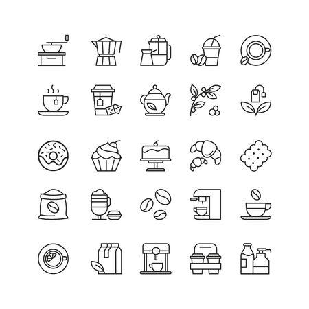 Coffee and tea drinks linear icons set Standard-Bild - 130861302