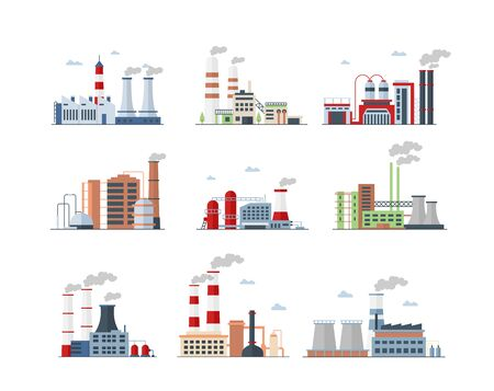 Industrial complex, Factory buildings color icons set Standard-Bild - 130861328