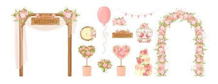 Wedding party flower decoration items. Cartoon bunch of flowers, holiday bouquet, arch, cake, doves greeting card, poster design elements. Ceremony decor, marriage, engagement celebration items Standard-Bild - 130861331
