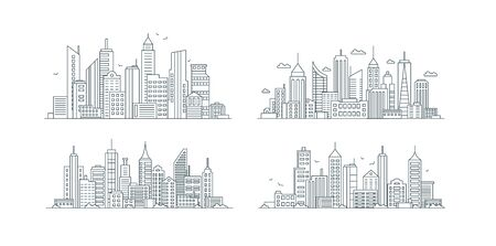 City buildings linear icons set. Skyscrapers, urban street with various structures thin line contour symbols. Apartment houses, business center isolated vector outline illustrations Иллюстрация