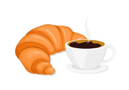 Coffee and croissant flat vector illustration. French breakfast isolated clipart. Hot steaming coffee mug with sweet snack. Crescent roll, brewed drink. Bakery, confectionery menu on white background Standard-Bild - 128456131