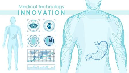 Medical technology innovation vector banner template. Futuristic medicine, professional treatment, diagnostics center poster. Full body scan, polygonal patient model illustration with typography. Standard-Bild - 130861333