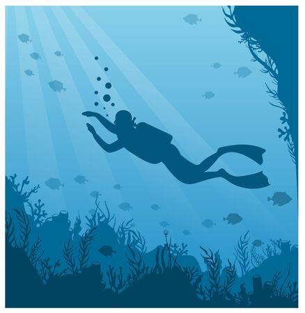Tauchen, flache Vektorgrafiken zum Schnorcheln. Taucher im Badeanzug mit Flossensilhouette. Unterwasseraktivität, Meeresabenteuer. Aktive Sommererholung, Wassertourismus, exotische Freizeit.
