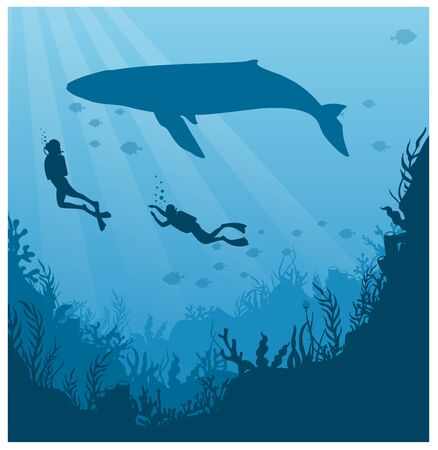 Scuba diving, snorkeling flat vector illustration. Diver in swimsuit with flippers silhouette. Underwater activity, marine adventure. Active summer recreation, aquatic tourism, exotic leisure. Standard-Bild - 130861335