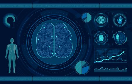 Personal identification flat vector illustration. Smart recognition system, fingerprint, palm print and eye scan. Artificial intelligence, AI technology research. Neural network, machine learning. Иллюстрация