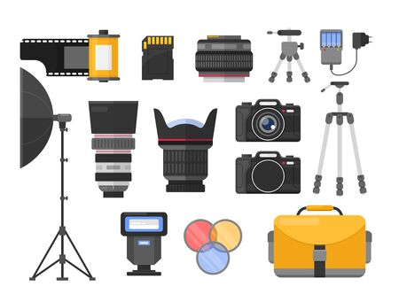 Photography equipment flat vector illustrations set. Different camera lenses. Professional photo studio accessories. Softbox and tripods. Photographer, cameraman tools. Roll and SD memory card. Standard-Bild - 130861338