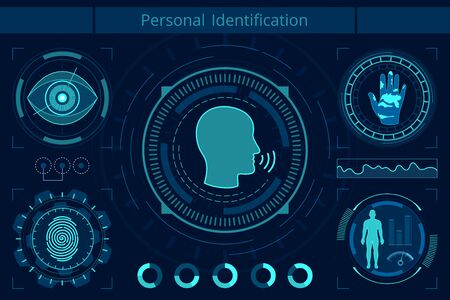 Personal identification flat vector illustration. AI technology research. Neural network, machine learning concept. Smart recognition system, fingerprint, palm print and eye scan. Artificial intelligence. Standard-Bild - 130861339