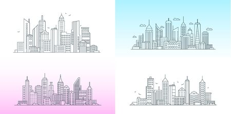 City buildings linear icons set. Skyscrapers, urban street with various structures thin line contour symbols on gradient background. Apartment houses, business center isolated vector outline illustrations. Standard-Bild - 130861341