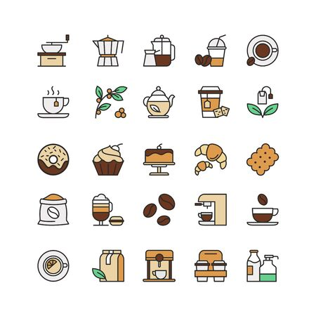 Coffee and tea drinks linear icons set. Takeaway cup, tea leaves, espresso machine and roasted coffee beans thin line contour symbols. Pastry and confectionery isolated vector outline illustrations. Standard-Bild - 130861342