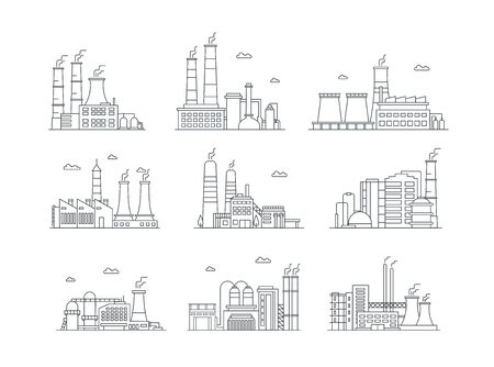 Industrial complex color icons set. Manufacturing plants isolated vector illustrations. Factory buildings and mass production. Air pollution, pipes emitting smoke, pollutant gas emission in line style. Standard-Bild - 130861343