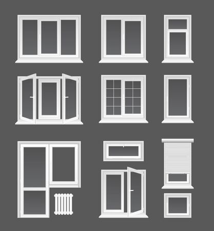Plastic windows flat vector illustrations set. House interior, exterior decor elements, Modern architecture, glazing service symbols. Different white casements with jalousie, doors and heating battery. Иллюстрация