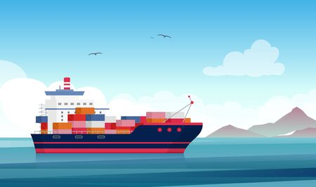 Cargo ship flat vector illustration. Container vessel, merchant marine. Shipbuilding industry. Products export and import. Logistics and distribution. Delivery service. Water freight transportation.