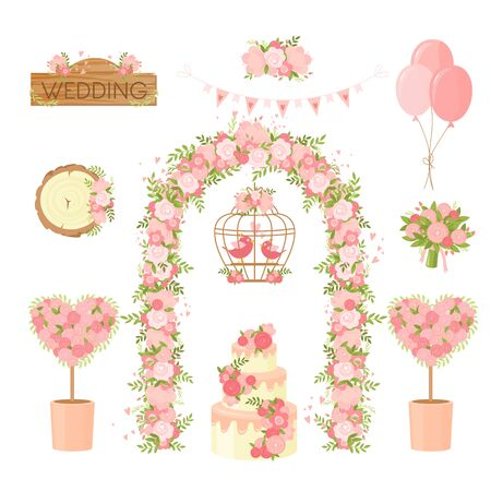 Wedding party flower decoration items. Cartoon bunch of flowers, holiday bouquet, arch, cake, doves greeting card, poster design elements. Ceremony decor set, marriage, engagement celebration items collection.