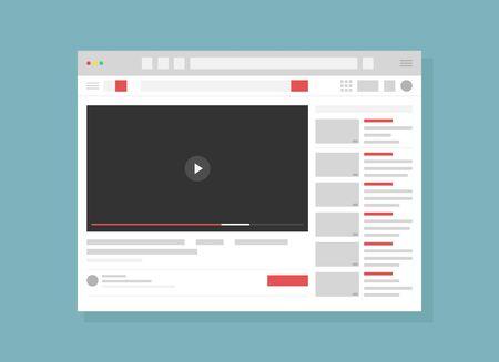 Vector illustration of Video hosting service page flat. Internet website, webpage UI, UX layout. Blank browser window cartoon concept with copyspace. Modern recreation, online entertainment technology. Standard-Bild - 130861352