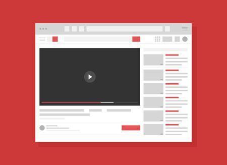 Video hosting service page flat vector illustration. Internet website, webpage UI, UX layout. Blank browser window cartoon concept with copyspace. Modern recreation, online entertainment technology. Standard-Bild - 130861351