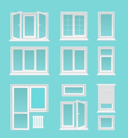 Plastic windows flat vector illustrations set. House interior, exterior decor elements, Modern architecture, glazing service symbols. Different white casements with jalousie, doors and heating battery isolated on blue background Standard-Bild - 130861353