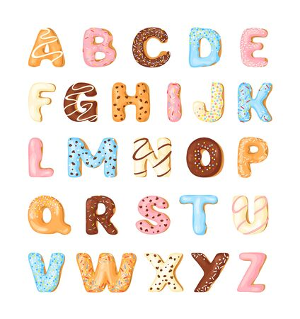 Delicious cookies flat alphabet vector set. Sweet baking cartoon font. Creative gingerbread typography design. Confection stylized capital letters. Biscuit and doughnut sty text illustrations pack. Иллюстрация