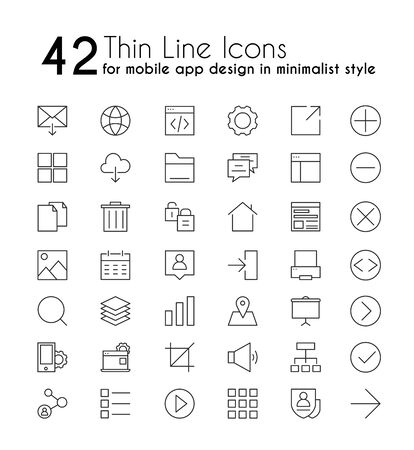 Smartphone apps vector linear icons set. Mobile application design in minimalist style thin line pictograms. Cellphone multimedia button, cloud computing, messaging outline illustrations. Standard-Bild - 130861355