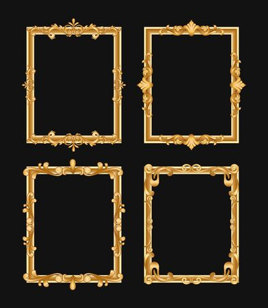 Golden vintage decorative vector frames set. Filigree border with text space illustration. Isolated calligraphic rectangles with copyspace. Invitation, greeting card, poster design element Standard-Bild - 130861357