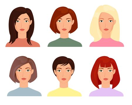 Female faces flat vector illustrations set. Blonde, brunet women with short and long trendy haircuts cartoon characters pack. People portraits, cliparts collection on white background isolated drawing Standard-Bild - 130861359