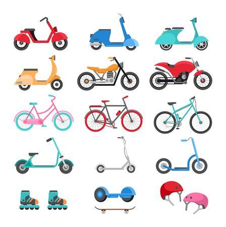 Urban eco transport  illustrations set. Summer activities concept. Scooters, bicycles, roller-skates, skateboard, helmet cartoon cliparts pack. Environmentally friendy vehicles. Active rest idea Standard-Bild - 130861360