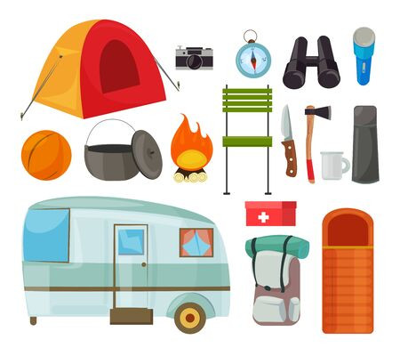 Tourism equipment flat vector illustrations set. Camping items color drawing. Tourist tent, backpack isolated cliparts pack. Traveller trailer caravan. Tekking, hiking journey tools design elements Иллюстрация