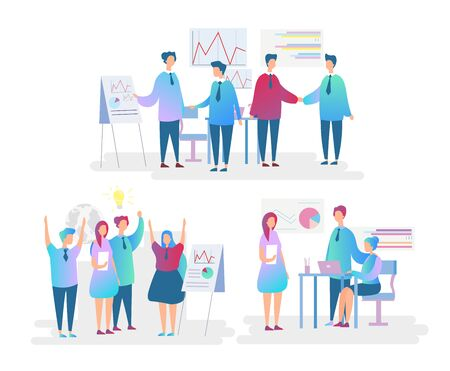 Office workers flat characters set. Employees teamwork and cooperation. Perspective discussion, strategy building, success achievement concept. Company staff isolated vector illustration Standard-Bild - 130861362