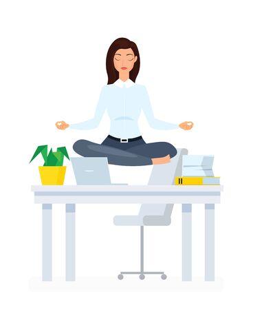 Meditating office employee flat illustration. Businesswoman practicing yoga cartoon vector character. Staff relaxation, stress relief, rest break, useful sport exercises, calm down idea Standard-Bild - 130861364
