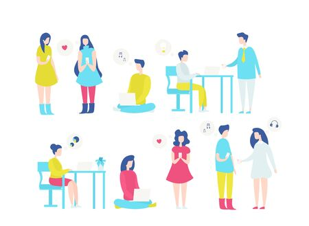 People with laptops flat vector illustrations set. Cartoon girls with smartphones chatting, sending romantic message. Office worker using computer technologies. Couple listening to music on cellphone. Standard-Bild - 131967689