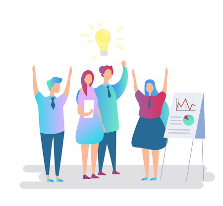 Coworkers celebrate victory flat vector illustration. Teamwork and cooperation at workplace concept. Happy colleagues raising hands with joy. Top managers implementing successful idea, business plan. 矢量图像