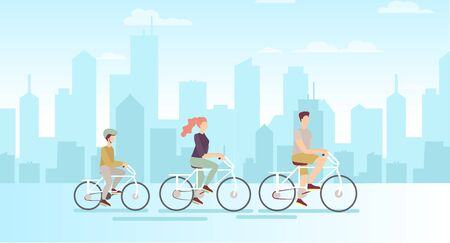 Vector illustration of family on bicycles on big modern city background. Father mother and son riding on bicycles, flat cartoon style