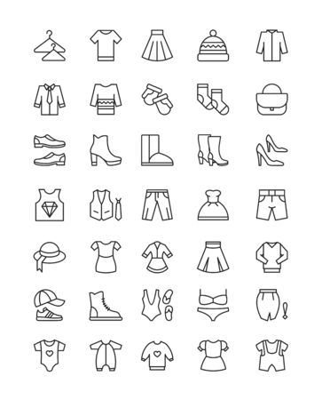 Vector illustration set of Different types of clothes icons isolated on white background. Clothes linear icons collection