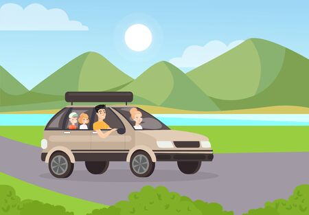 Family road trip flat vector illustration. Mother riding car with husband and children. People characters travelling together in automobile. Beautiful mountain and lake landscape on background