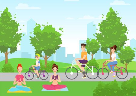Summer outdoor activities flat vector illustration. Young girls doing yoga in city park cartoon characters. Parents and child riding bicycle. Healthy lifestyle habits. Urban recreational area
