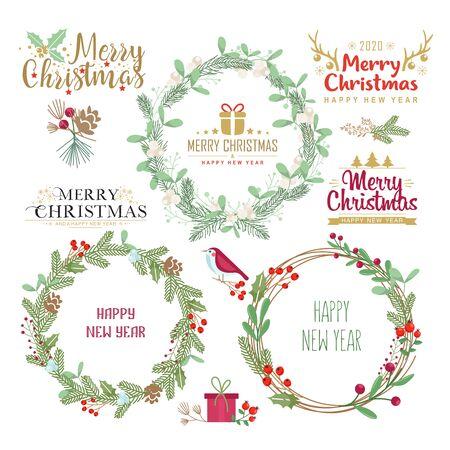 Vacaciones de invierno desea conjunto de coronas decorativas. Marcos botánicos con mensajes de feliz Navidad, feliz año nuevo. Paquete de elementos de diseño de postal festiva de invierno. Coronas elegantes de ramitas de abeto y muérdago Ilustración de vector