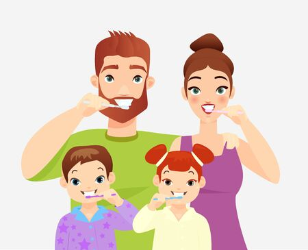 Family brushing teeth flat vector illustration. Parents and kids cleaning teeth with toothbrushes cartoon characters. Spouses teaching daughter and son mouth cavity hygiene. Family healthcare habits
