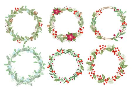 Christmas wreaths flat vector illustrations set. Traditional Xmas decoration with mistletoe, ilex and poinsettia flowers. Round botanical frames with text space. Winter season decorative elements