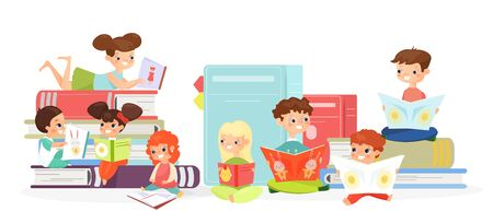 Kids reading books flat vector illustration. Cute children with textbooks cartoon characters. Funny toddlers looking at pictures. Cheerful girls and boys, schoolchildren reading childish stories