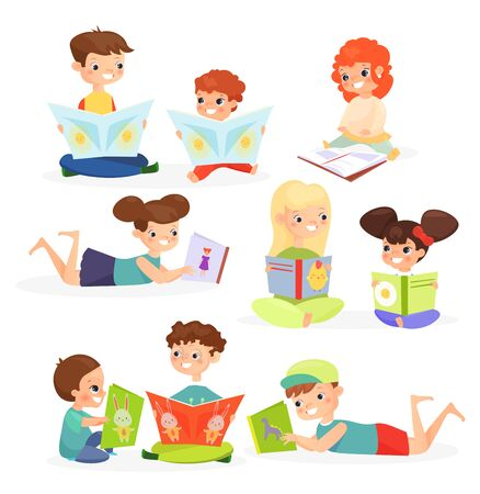 Children reading books flat vector illustrations set. Cute kids enjoying childish stories cartoon characters. Cheerful toddlers with textbooks looking at pictures isolated on white background