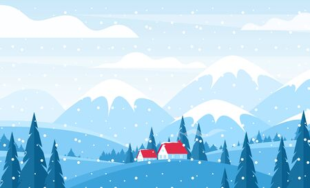 Winter landscape flat vector illustration. Cottages with red tile roofs on snowy hills. Snow capped mountains scenery. Wintertime countryside panorama. Lonely houses surrounded with fir trees