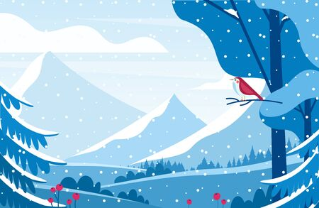 Wintertime scenery flat vector illustration. Lonely bird watching snow capped mountains. Minimalist cold season landscape with snowy valleys and fir trees. Red songbird in winter forest