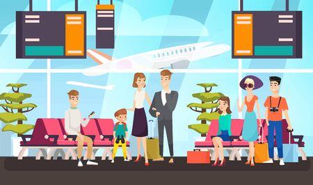 Passagers de l'aéroport en attente d'une illustration vectorielle plane de vol. Voyageurs assis dans la salle d'embarquement. Touristes de dessin animé avec des bagages attendant le décollage de l'avion. Clients des compagnies aériennes internationales.