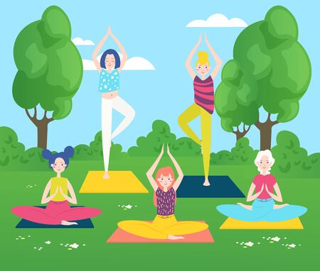 Yoga in park flat vector illustration. Girls characters practising yoga poses outdoors. Meditation and relaxation on fresh air. Yoga group training, people sitting in lotus pose on grass