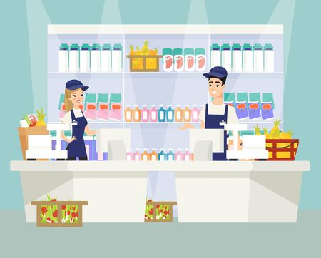 Supermarket checkout flat vector illustration. Male and female cashier cartoon characters in uniform working at grocery shop. Shelf with products in store. Shopping bags and baskets  イラスト・ベクター素材
