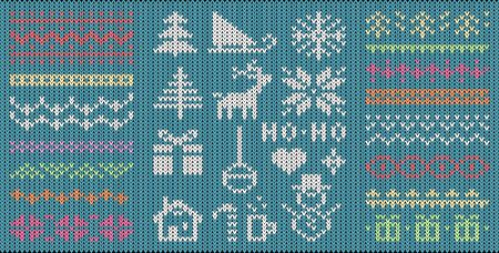 Knitted Christmas symbols and patterns flat vector illustrations set