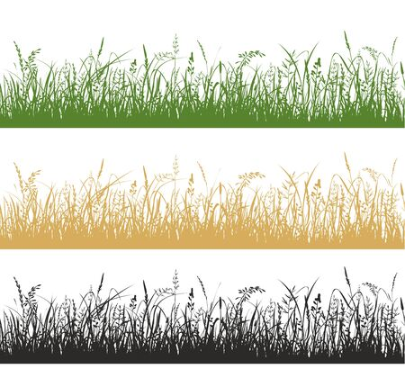Grass and meadow plants silhouette illustrations set